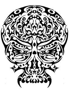 trible skull by giyvin on deviantART Wood Burning Stencils, Tattoo Templates, Tribal Tattoos, Skulls, Body Art, Deviantart, Ink, Tatoo, Tattoo Models