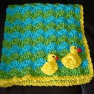 wave crochet blanket pattern. I like the duck idea, but would probably do light blue and white as the ripple colors.  RUFFLED BABY BLANKET CROCHET PATTERN