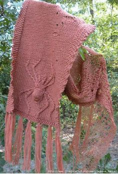 Arachne, the original spinner, is portrayed here in a twisted stitch pattern from Barbara Walker's Third Treasury of Knitting Patterns_free ravelry pattern by Sharon Emery Knitted Shawls, Crochet Scarves, Crochet Shawl, Knit Crochet, Shawl Patterns, Stitch Patterns, Crochet Patterns, Knitting Accessories, Shawls And Wraps