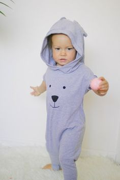 etsy-AnchoreDeep by Nastya Crook of Huntington Beach, CA: Harem style romper Grey Romper Bear face $35.00