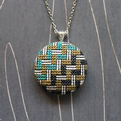 Basket weave cross stitch necklace/ pendant by TheWerkShoppe