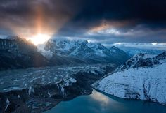 Photo: Bright sunlight above Gokyo Lake in Nepal