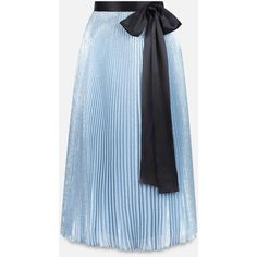 Christopher Kane lamé pleated skirt (£905) ❤ liked on Polyvore featuring skirts, blue pleated skirt, pleated skirt, knee length pleated skirt, blue skirts and lame skirt