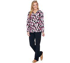 Denim & Co. Active Floral Print Long Sleeve V Neck Top & Pant Set