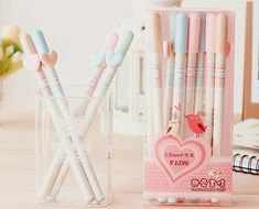 Find images and videos about cute, pink and kawaii on We Heart It - the app to get lost in what you love. Stationery Pens, School Stationery, Kawaii Stationery, Japanese Stationery, Stationery Store, Kawaii Pens, Kawaii Cute, Kawaii Style, Japanese School Supplies