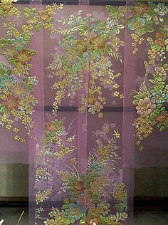 ピンクのオーガンジ:カトレアや洋花柄の色打掛