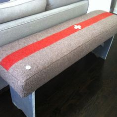 Swiss Army Blanket Bench now featured on Fab. Hudson Bay Blanket, Army Decor, Rustic Luxe, Chalet Style, Vintage Cabin, Funky Furniture, Diy Arts And Crafts, Swiss Army, Cool Lighting