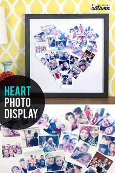 Get some of those photos off your phone and on your wall with this adorable heart shaped photo collage. Diy Holiday Gifts, Holiday Crafts, Diy Gifts, Xmas Gifts, Handmade Gifts, Christmas Ideas, Mason Jar Crafts, Mason Jar Diy, Heart Shaped Photo Collage