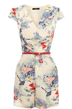 Check out this cute Oasis 'Fan Flower' print belted romper $90, get it here: http://rstyle.me/~zgoc