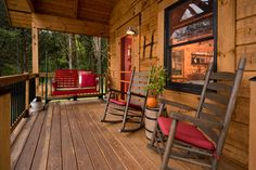 Cozy log porch with timber frame rafters and porch posts