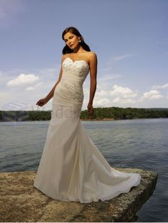 A-line Taffeta Ruched Bodice Sweetheart Neckline Sweep Train Wedding Dresses