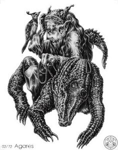 (2) AGARES / AGREAS (Goetic demon) influences those born 21/03 - 02/06 - 14/08 - 26/10 - 07/01. The Second Spirit is a Duke. He is under the Power of the East. He maketh them to run that stand still, and bringeth back runaways. He teaches all Languages or Tongues presently. He hath power also to destroy Dignities both Spiritual and Temporal, and causeth Earthquakes. He was of the Order of Virtues. He hath under his government 31 Legions of Spirits.