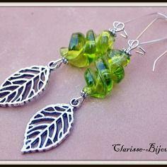 Boucles d'oreilles spirale verre murano, boucles d'oreilles feuille argenté, boucles d'oreilles murano vert