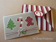 A Christy Production - Stampin Up, Christmas Card, Be of Good Cheer DSP, Cherry Cobbler Baker's Twine, Envelope Diagonal Scoring Plate, Holiday Collection Framelits, Christmas Card