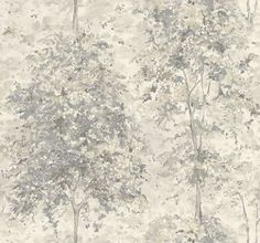 Lochwood (NCW4152-05) - Nina Campbell Wallpapers - A forest of trees printed in an impressionist style. Shown in the white with silver grey highlights. Other colourways  Wide width roll. Please request sample for true colour match.  £58 per roll