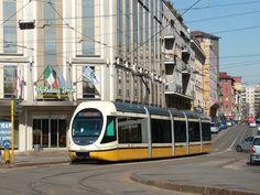 Modern tram in Milan, Italy.