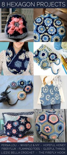 Eight projects to make with crocheted hexagons - Need to crochet all of these!