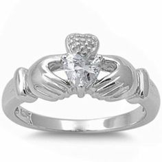 Irish Claddagh Heart Cubic Zirconia Ring .925 Sterling Silver Ring