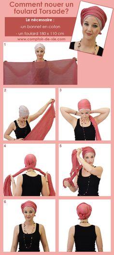 Tutoriel foulard torsade                                                                                                                                                                                 Plus