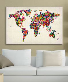 This Michael Tompsett World Map Hearts II Gallery-Wrapped Canvas by iCanvas is perfect! #zulilyfinds