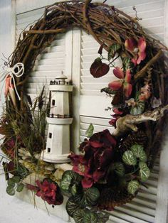 Grand Lighthouse Wreath OOAK by Dunewooddesigns on Etsy, $150.00