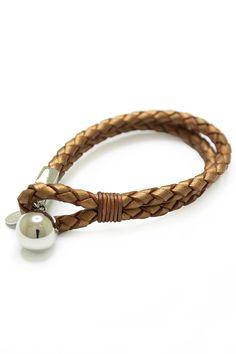 Marilyn Tan Braided Leather Bracelet in Brass