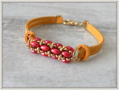 Friendship Suede Cord Bracelet with beaded handmade por LiBeadi