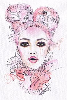 "HARLEQUIN art print 12"" x 8"" original watercolour illustration Beautiful woman with pink cotton candy hair & ruffles"
