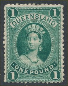 Queensland 144 var 1907 bluish green Q Victoria, wmkd Crown over A, lithographed, perf VARIETY - retouch (row 6 pos Federation Of Australia, Vintage Stamps, Stamp Collecting, Coins, Poster, Auction, Queen Victoria, Postcards, Stamping
