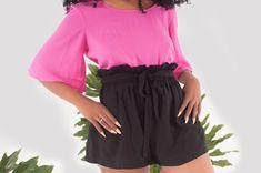 Summer loving styled look. elastic waist, paper bag waist and waist tie. Shop online now! South African Fashion, Tie Shop, Summer Loving, Summer Shorts, Latest Fashion Trends, Fashion Brand, Elastic Waist, Short Dresses, Paper