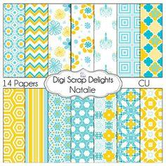 DIgital Scrapbooking: Natilie Digital Paper Pack (Aqua Blue & Yellow Orange Gold Backgrounds) Buy 2 Items Get 1 Free Special. $3.00, via Etsy.