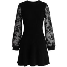 Chicwish Fab Focus Knitted Dress in Black ($53) ❤ liked on Polyvore featuring dresses, black, black mesh dress, black floral dress, floral sleeve dress, stretchy black dress y flower print dress