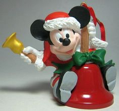 Santa Mickey Mouse on bell holding bell ornament from Fantasies Come True