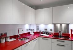 red kitchen counters