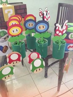 Mario centerpieces for birthday Super Mario Party, Super Mario Bros, Super Mario Birthday, Mario Birthday Party, 6th Birthday Parties, Birthday Ideas, Birthday Gifts, Nintendo Party, Mario Und Luigi