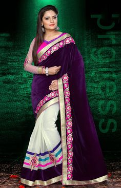 USD 83.57 Violet and White Border Work Party Wear Saree 40253