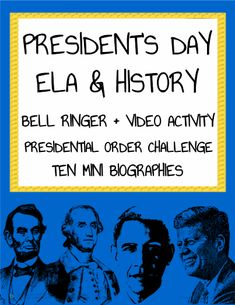 "FREE President's Day Activities: NO PREP Printable ELA or Social Studies Classroom Activities for President's Day! Print, Project & Teach this Presidents' Day! President's Day Activities for Students: ""If I were President.."" Bell Ringer; Guided practice /Independent Work: 10 Most Important Presidents' Mini Biographies; Chronological Order of 44 Presidents Challenge; ANSWER KEY; Advice from ""Kid President"" Fun Video Activity for Students."