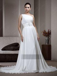 Find Wholesale - Empire One Shoulder Chiffon Court Train White Beading Wedding Dress at Pickeddresses.com