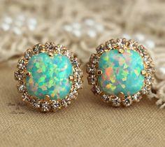 Mint opal rhinestone studs