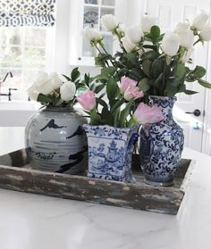 Group of blue & white vases in a blue & white kitchen,  The Enchanted Home