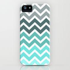 Tiffany Fade Chevron Pattern iPhone Case by RexLambo | Society6 love the colors!!