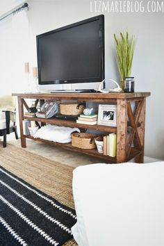 DIY Rustic TV Console, I love this for as a table