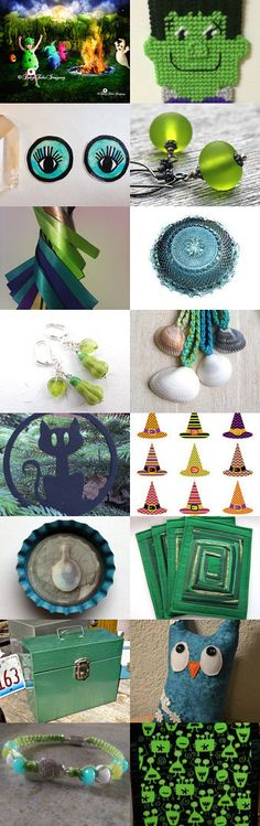 Aqua and Green Halloween by Cassie on Etsy--Pinned with TreasuryPin.com