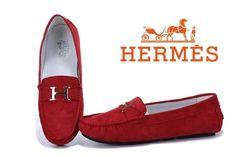 Hermes Ladies Moccasin Red