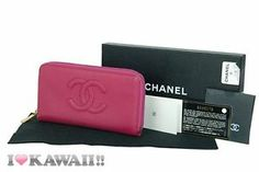 Auth CHANEL Pink Caviar Skin Leather Around Zip Wallet Long Coin Purse Free Ship