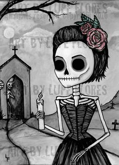 Dead Hills Night 5x7 Day of the Dead art print by ArtByLupeFlores, $21.99