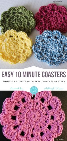 Most recent Cost-Free easy Crochet gifts Suggestions Easy 10 Minute Coasters Free Crochet Pattern Crochet Doily Patterns, Crochet Flowers, Crochet Doilies, Crochet Coaster Pattern Free, Easy Knitting Projects, Crochet Projects, Crochet Gifts, Diy Crochet, Thread Crochet