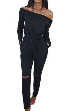 Shinekoo Women Off-shoulder Rip Knee Jumpsuit Casual Romper Tracksuit Playsuit ❤ ...