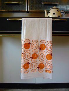 Sunny Orange Slice Tea Towel