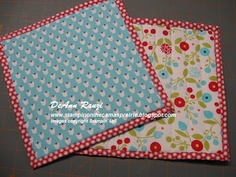 Stampin' on the Prairie: Summer Smooches Pot Holders - Picture Tutorial Beach Bag Tutorials, Fabric Gifts, Sewing Projects, Sewing Ideas, Mug Rugs, Fabric Ribbon, Hot Pads, Home Crafts, Pot Holders